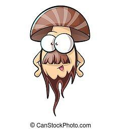 Cartoon mushroom with beard