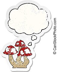 cartoon mushrooms and thought bubble as a distressed worn sticker