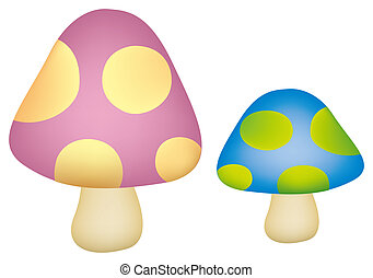 cartoon mushrooms in a white background