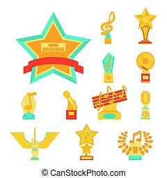 Cartoon music award statuette entertainment winner top artist achievement prize vector illustration.