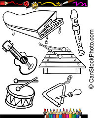 cartoon music instruments coloring page - Coloring Book or...