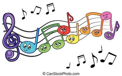 Cartoon music notes theme image 2 - eps10 vector...