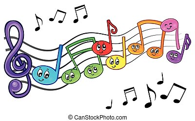 Cartoon music notes theme image 2 - eps10 vector...