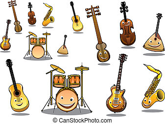 Cartoon musical instruments set