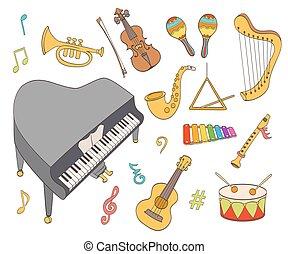 cartoon musical instruments set. vector illustration
