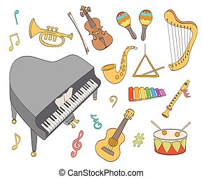 cartoon musical instruments set. vector illustration