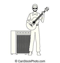 cartoon musician with guitar, flat design