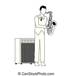 cartoon musician with saxophone icon