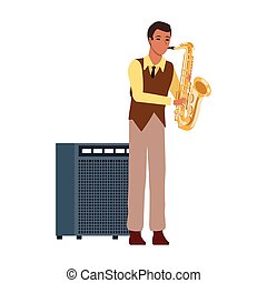cartoon musician with sound amplifier and saxophone icon