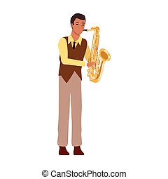 cartoon musician with trumpet instrument, flat design