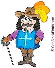 Cartoon musketter - Cartoon musketeer on white background -...