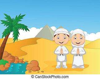 Cartoon Muslim kids with pyramid ba