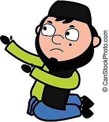 Cartoon Muslim Man Begging