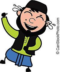 Cartoon Muslim Man Laughing