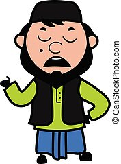 Cartoon Muslim Man Pensive