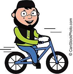 Cartoon Muslim Man Riding bicycle