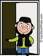 Cartoon Muslim Man Standing at door