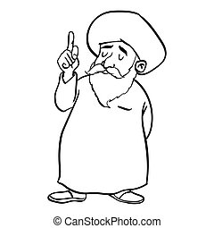 Cartoon Muslim Old man standing-Vector drawn
