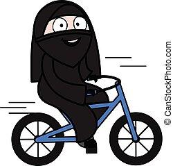 Cartoon Muslim Woman Riding bicycle