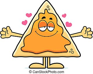 Cartoon Nachos Hug - A cartoon illustration of a nacho chip...