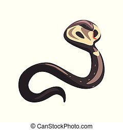 Cartoon naja or king cobra with tongue out. Longest venomous wild serpent with hood. Dangerous and venomous reptile. Wildlife concept. Colorful flat vector design