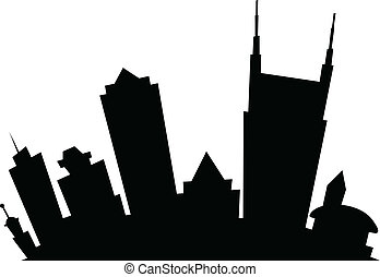 Cartoon skyline silhouette of the city of Nashville, Tennessee, USA.