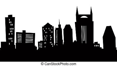 Cartoon skyline silhouette of Nashville, USA.
