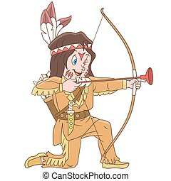 Cartoon native american indian boy with bow and arrow....