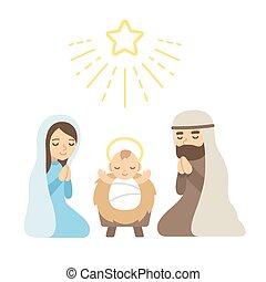 Christmas Nativity Scene with baby Jesus. Modern flat vector illustration.