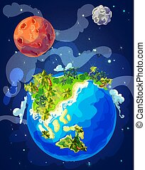 Cartoon Natural Earth Globe Template