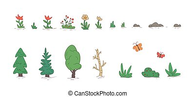 Cartoon nature landscape elements set, trees, stones, grass, flowers. Flat vector illustration. Isolated on white background