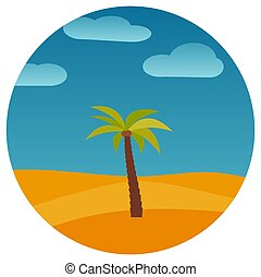 Cartoon nature landscape with palm