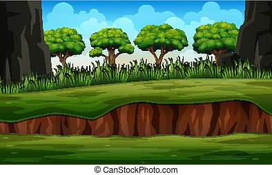 Cartoon nature landscape with plant and trees