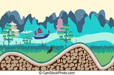 cartoon nature landscape with river, trees, road and mountains game style