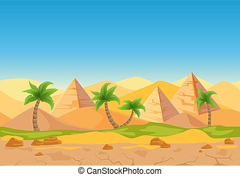 Cartoon nature sand desert game style vector landscape with palms, herbs and Egyptian pyramids.