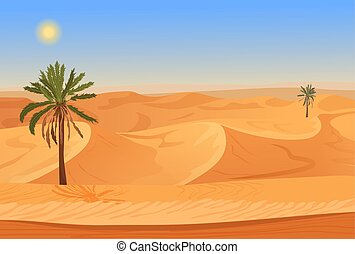 Cartoon nature sand desert landscape with palms, herbs and mountains. Vector seamless game style illustration.