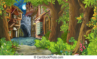 cartoon nature scene with medieval city street - illustration for children