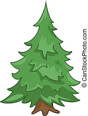 Cartoon Nature Tree Fir Isolated on White Background. Vector...