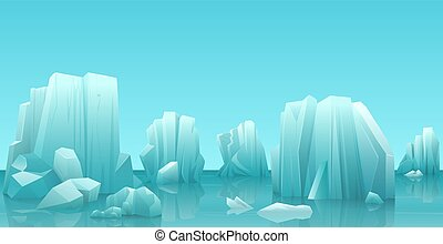 Cartoon nature winter arctic ice landscape with iceberg, snow mountains rocks hills. Vector game style illustration.