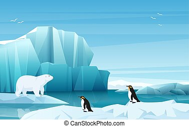 Cartoon nature winter arctic landscape with ice mountains. White Bear and penguins. Vector game style illustration.