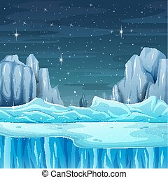 Cartoon nature winter landscape with iceberg