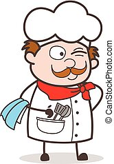 Cartoon Naughty Chef Winking Eye Face