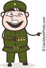 Cartoon Naughty Sergeant Pointing Finger Vector Illustration