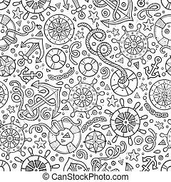Cartoon nautical seamless pattern - Cartoon cute hand drawn...