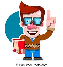 Cartoon Nerd Student Standing With A Book In His Hand. Concept Of Education. Smart Guy With Glasses. Flat Vector