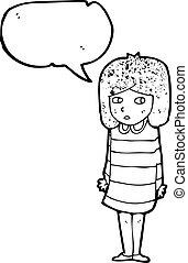 cartoon nervous girl in striped dress