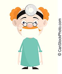 Cartoon Neurologist Surgeon Character Vector