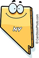 A cartoon illustration of the state of Nevada smiling.