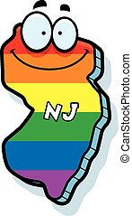 A cartoon illustration of the state of New Jersey smiling with rainbow flag colors.