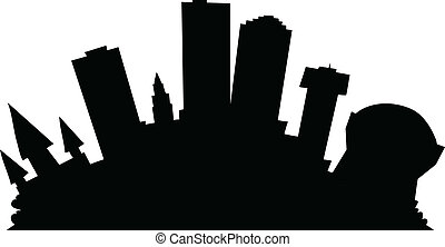 Cartoon skyline silhouette of the city of New Orleans, Louisiana, USA.